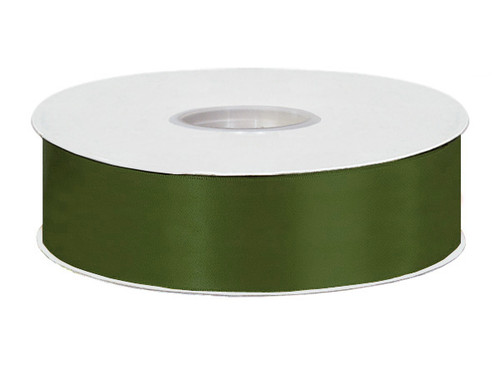 "1.5""x50 yard Moss Green Polyester Satin Gift Ribbon - Pack of 5 Rolls"