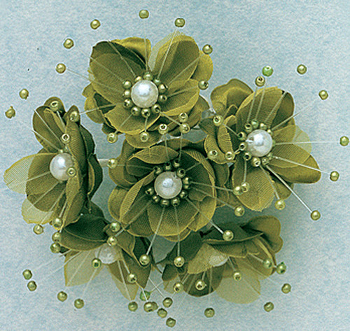"""1.5"""" Olive Silk Flowers with Pearl - Pack of 72"""