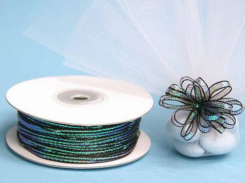 """1/8""""x50 yards Black Organza Pull Bows Ribbon with Iridescent Edge - Pack of 7 Rolls"""