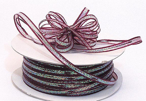 """1/8""""x50 yards Burgundy Organza Pull Bows Ribbon with Iridescent Edge - Pack of 7 Rolls"""