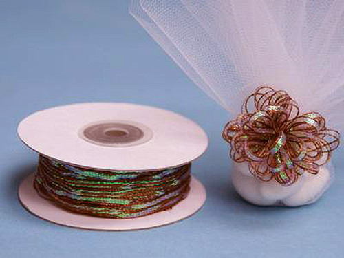 """1/8""""x50 yards Copper Organza Pull Bows Ribbon with Iridescent Edge - Pack of 7 Rolls"""
