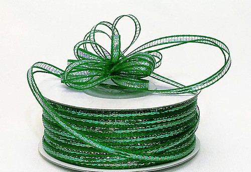 """1/8""""x50 yards Emerald Organza Pull Bows Ribbon with Iridescent Edge - Pack of 7 Rolls"""