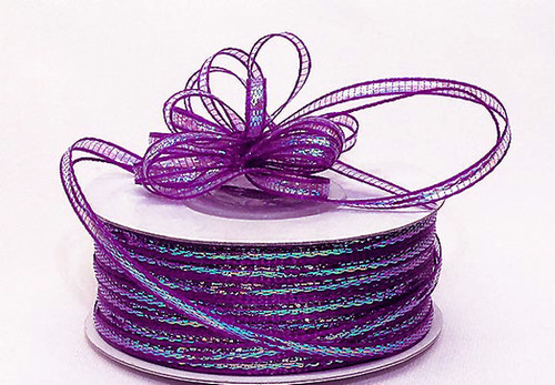 """1/8""""x50 yards Fuchsia Organza Pull Bows Ribbon with Iridescent Edge - Pack of 7 Rolls"""