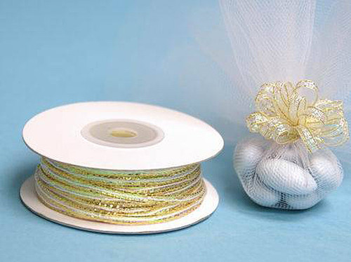 """1/8""""x50 yards Gold Organza Pull Bows Ribbon with Iridescent Edge - Pack of 7 Rolls"""