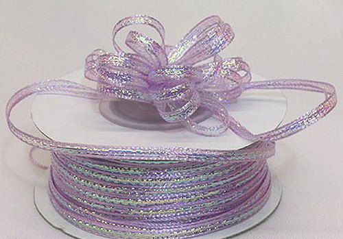 """1/8""""x50 yards Lavender Organza Pull Bows Ribbon with Iridescent Edge - Pack of 7 Rolls"""