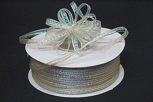 """1/8""""x50 yards Ivory Organza Pull Bows Ribbon with Iridescent Edge - Pack of 7 Rolls"""