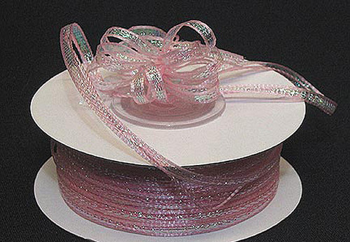 """1/8""""x50 yards Light Pink Organza Pull Bows Ribbon with Iridescent Edge - Pack of 7 Rolls"""