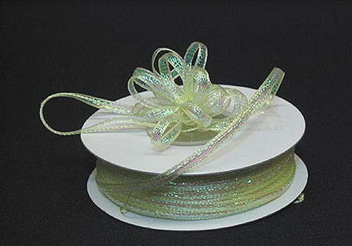 """1/8""""x50 yards Light Yellow Organza Pull Bows Ribbon with Iridescent Edge - Pack of 7 Rolls"""