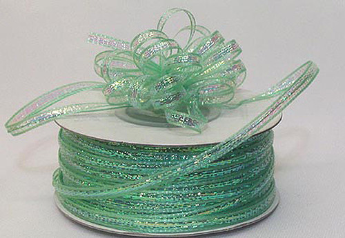 """1/8""""x50 yards Mint Green Organza Pull Bows Ribbon with Iridescent Edge - Pack of 7 Rolls"""