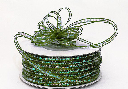 """1/8""""x50 yards Moss Green Organza Pull Bows Ribbon with Iridescent Edge - Pack of 7 Rolls"""