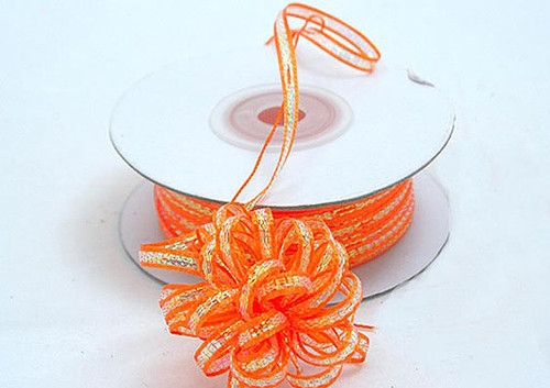 """1/8""""x50 yards Orange Organza Pull Bows Ribbon with Iridescent Edge - Pack of 7 Rolls"""