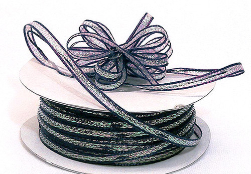 """1/8""""x50 yards Navy Blue Organza Pull Bows Ribbon with Iridescent Edge - Pack of 7 Rolls"""