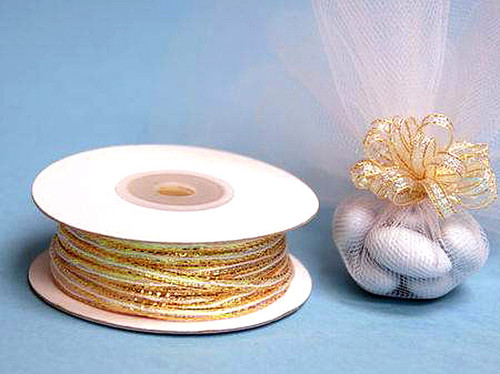 """1/8""""x50 yards Old Gold Organza Pull Bows Ribbon with Iridescent Edge - Pack of 7 Rolls"""