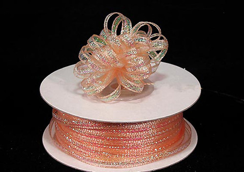 """1/8""""x50 yards Peach Organza Pull Bows Ribbon with Iridescent Edge - Pack of 7 Rolls"""