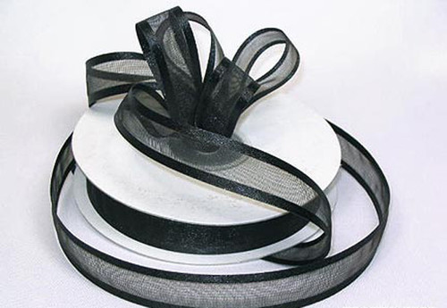 "1.5""x25 yards Black Organza Satin Edge Gift Ribbon - Pack of 5 Rolls"