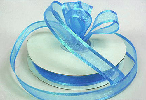 "1.5""x25 yards Blue Organza Satin Edge Gift Ribbon - Pack of 5 Rolls"