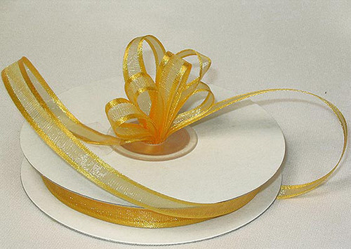 "1.5""x25 yards Gold Organza Satin Edge Gift Ribbon - Pack of 5 Rolls"