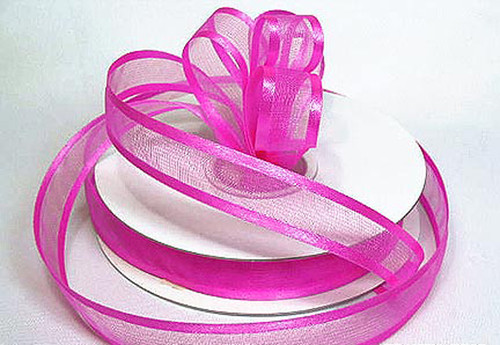 "1.5""x25 yards Fuchsia Organza Satin Edge Gift Ribbon - Pack of 5 Rolls"
