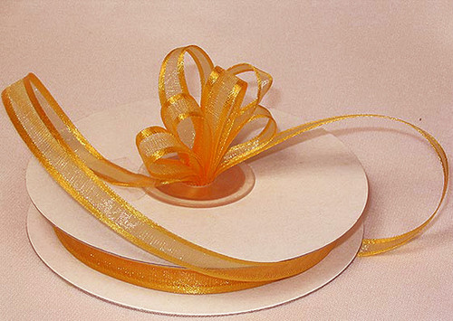 "1.5""x25 yards Gold Yellow Organza Satin Edge Gift Ribbon - Pack of 5 Rolls"
