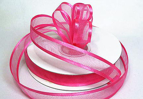 "1.5""x25 yards Hot Pink Organza Satin Edge Gift Ribbon - Pack of 5 Rolls"