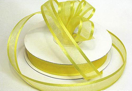 "1.5""x25 yards Light Yellow Organza Satin Edge Gift Ribbon - Pack of 5 Rolls"