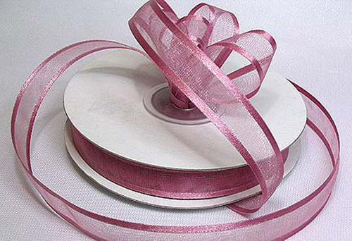 "1.5""x25 yards Mauve Organza Satin Edge Gift Ribbon - Pack of 5 Rolls"