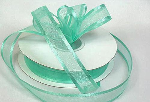 "1.5""x25 yards Mint Green Organza Satin Edge Gift Ribbon - Pack of 5 Rolls"