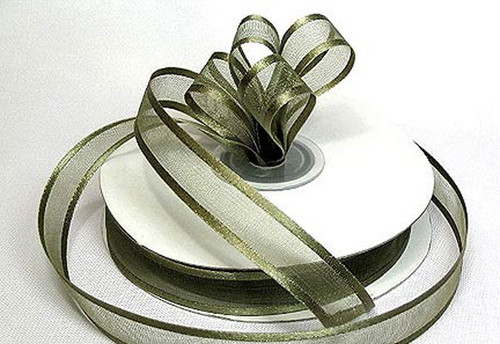 "1.5""x25 yards Moss Green Organza Satin Edge Gift Ribbon - Pack of 5 Rolls"