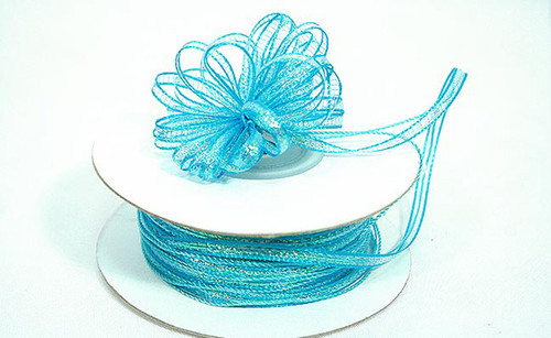 "1/4""x50 yards Turquoise Organza Pull Bows Ribbon with Iridescent Edge - Pack of 6 Rolls"