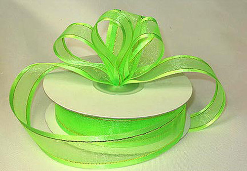 "1.5""x25 yards Apple Green Organza Satin Edge with Gold/Silver Trim Gift Ribbon - Pack of 5 Rolls"