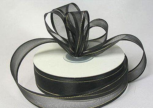 "1.5""x25 yards Black Organza Satin Edge with Gold/Silver Trim Gift Ribbon - Pack of 5 Rolls"