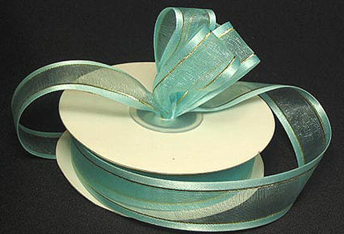 "1.5""x25 yards Aqua Blue Organza Satin Edge with Gold/Silver Trim Gift Ribbon - Pack of 5 Rolls"