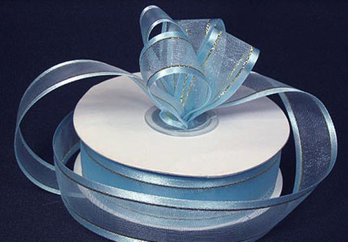 "1.5""x25 yards Light Blue Organza Satin Edge with Gold/Silver Trim Gift Ribbon - Pack of 5 Rolls"