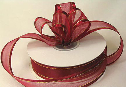 "1.5""x25 yards Burgundy Organza Satin Edge with Gold/Silver Trim Gift Ribbon - Pack of 5 Rolls"