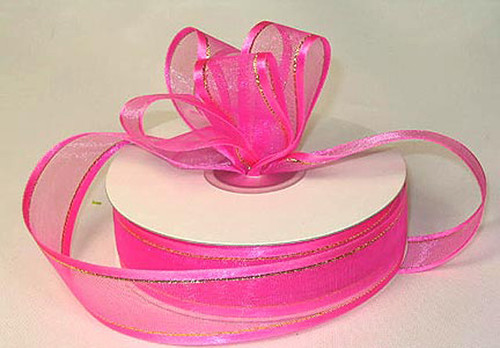 "1.5""x25 yards Fuchsia Organza Satin Edge with Gold/Silver Trim Gift Ribbon - Pack of 5 Rolls"