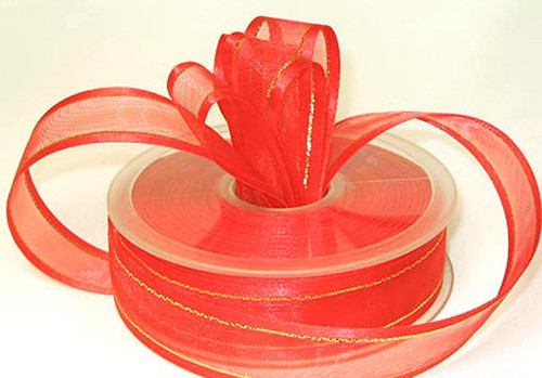 "1.5""x25 yards Coral Organza Satin Edge with Gold/Silver Trim Gift Ribbon - Pack of 5 Rolls"