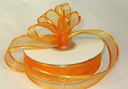 "1.5""x25 yards Gold Yellow Organza Satin Edge with Gold/Silver Trim Gift Ribbon - Pack of 5 Rolls"