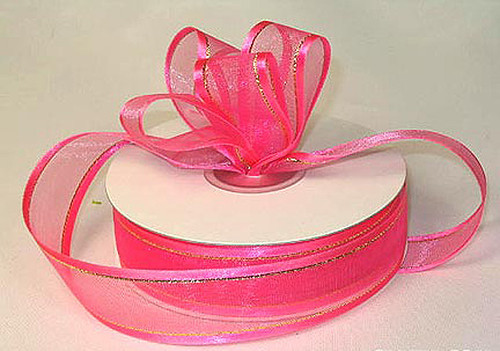 "1.5""x25 yards Hot Pink Organza Satin Edge with Gold/Silver Trim Gift Ribbon Pack of 5 PCS"