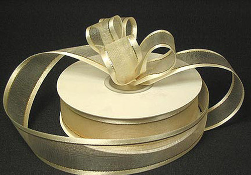 "1.5""x25 yards Ivory Organza Satin Edge with Gold/Silver Trim Gift Ribbon - Pack of 5 Rolls"