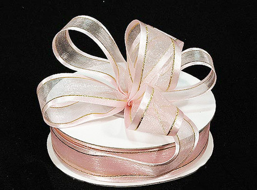 "1.5""x25 yards Light Pink Organza Satin Edge with Gold/Silver Trim Gift Ribbon - Pack of 5 Rolls 1"