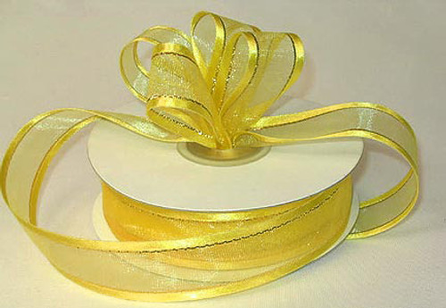 "1.5""x25 yards Light  Yellow Organza Satin Edge with Gold/Silver Trim Gift Ribbon - Pack of 5 Rolls"