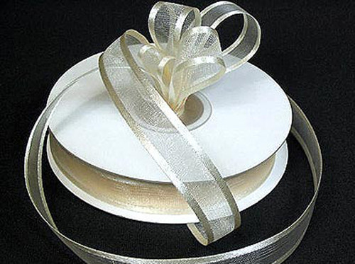 "1.5""x25 yards Ivory Organza Satin Edge Gift Ribbon - Pack of 5 Rolls"