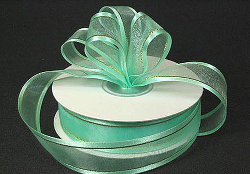 "1.5""x25 yards Mint Green Organza Satin Edge with Gold/Silver Trim Gift Ribbon - Pack of 5 Rolls"