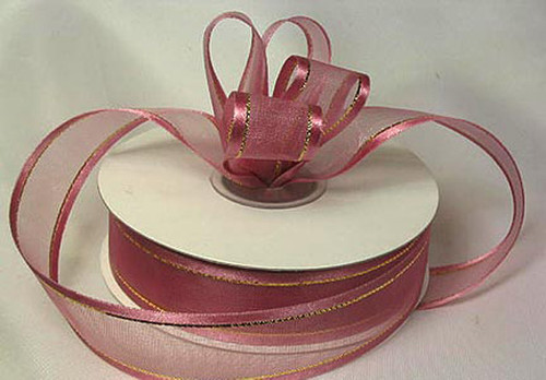 "1.5""x25 yards Mauve Organza Satin Edge with Gold/Silver Trim Gift Ribbon - Pack of 5 Rolls"