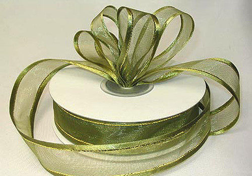 "1.5""x25 yards Moss Green Organza Satin Edge with Gold/Silver Trim Gift Ribbon - Pack of 5 Rolls"