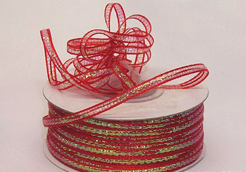 "1/4""x50 yards Red Organza Pull Bows Ribbon with Iridescent Edge - Pack of 6 Rolls"
