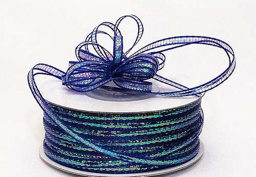 "1/4""x50 yards Royal Blue Organza Pull Bows Ribbon with Iridescent Edge - Pack of 6 Rolls"
