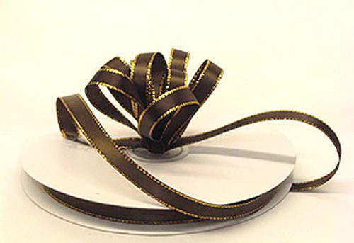 "1/4""x50 yard Brown Satin Gift Ribbon with Gold/Silver Edge - Pack of 20 Rolls"