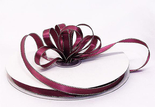 "1/4""x50 yard Burgundy Satin Gift Ribbon with Gold/Silver Edge - Pack of 20 Rolls"
