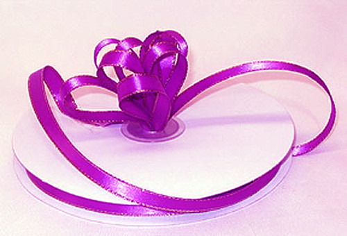 "1/4""x50 yard Fuchsia Satin Gift Ribbon with Gold/Silver Edge - Pack of 20 Rolls"